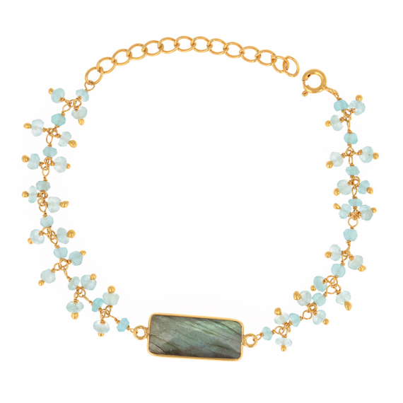 Gold Plated 925 Sterling Silver labradorite and apatite Bracelet
