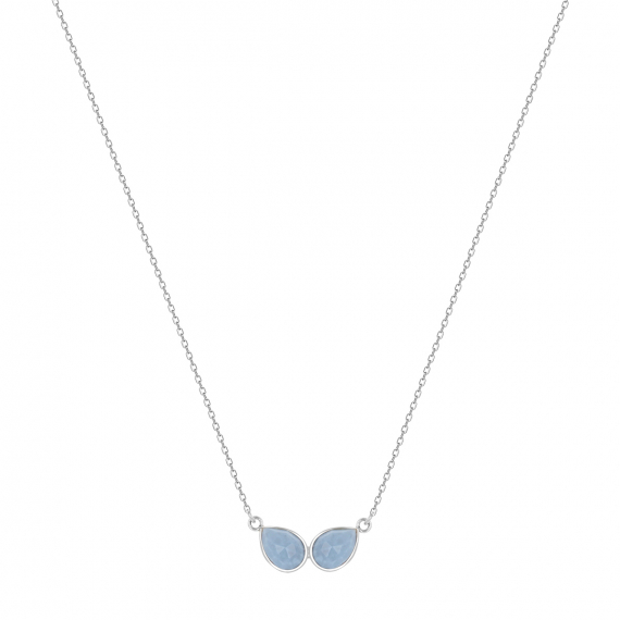 925 Sterling Silver Blue Opal Necklace