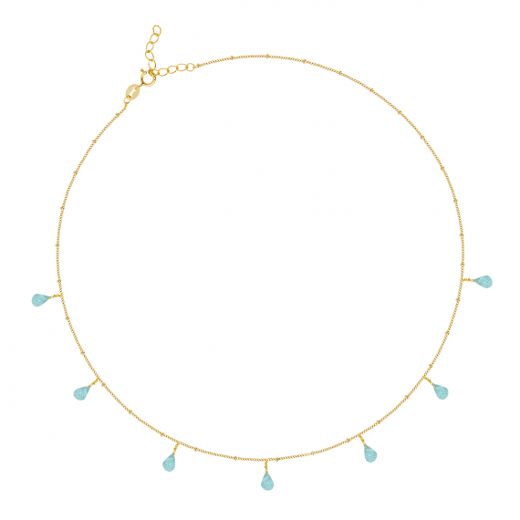 Gold Plated 925 Sterling Silver Apatite Necklace