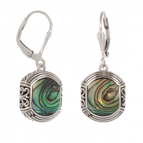 925 Sterling Silver Abalone Mother-of-pearl Ethnic Earrings