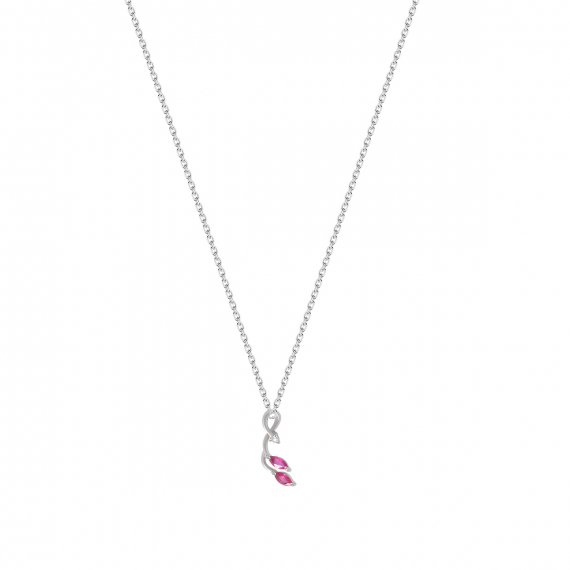 925 Sterling Silver 2 Ruby and Diamond Pendant