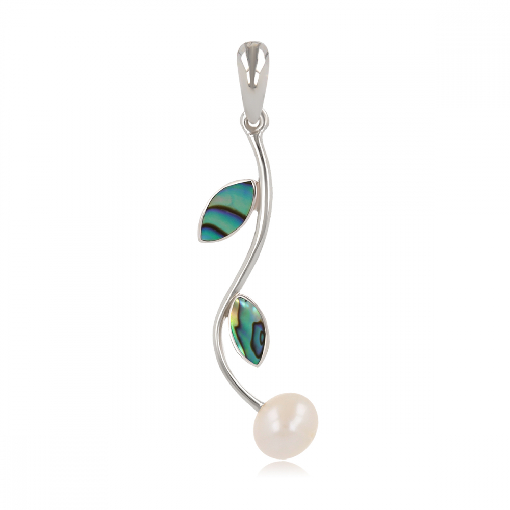 925 Sterling Silver Coral and Natural White Pearl Pendant