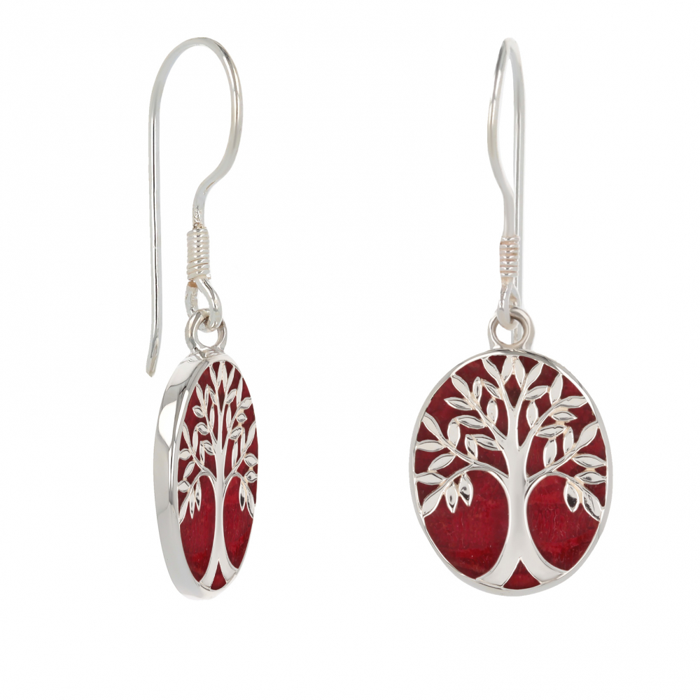 Red Coral 925 Sterling Silver Symbol Tree of Life Earrings