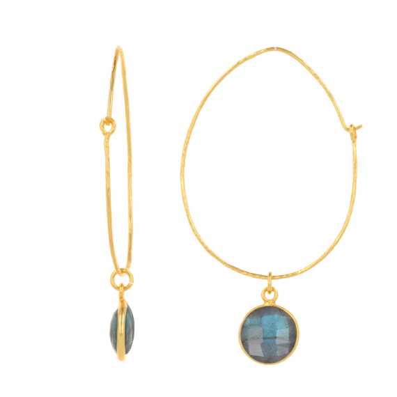 Gold Plated Faceted Labradorite Round Shape Earrings