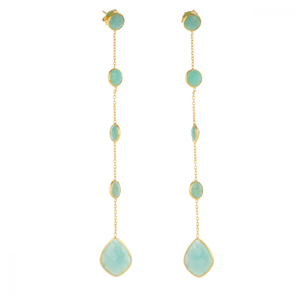 Gold Plated 925 Sterling Silver Amazonite Earrings