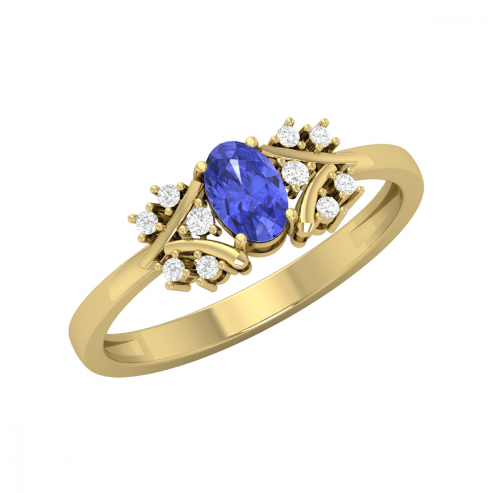 Gold Tanzanite Diamonds Ring 1.556grs
