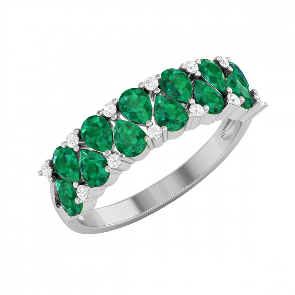 Gold Emerald Diamonds Ring 2.29grs