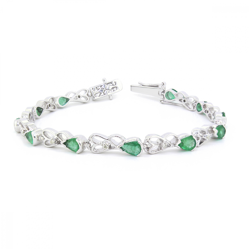 925 Sterling Silver Emerald Diamonds Bracelet