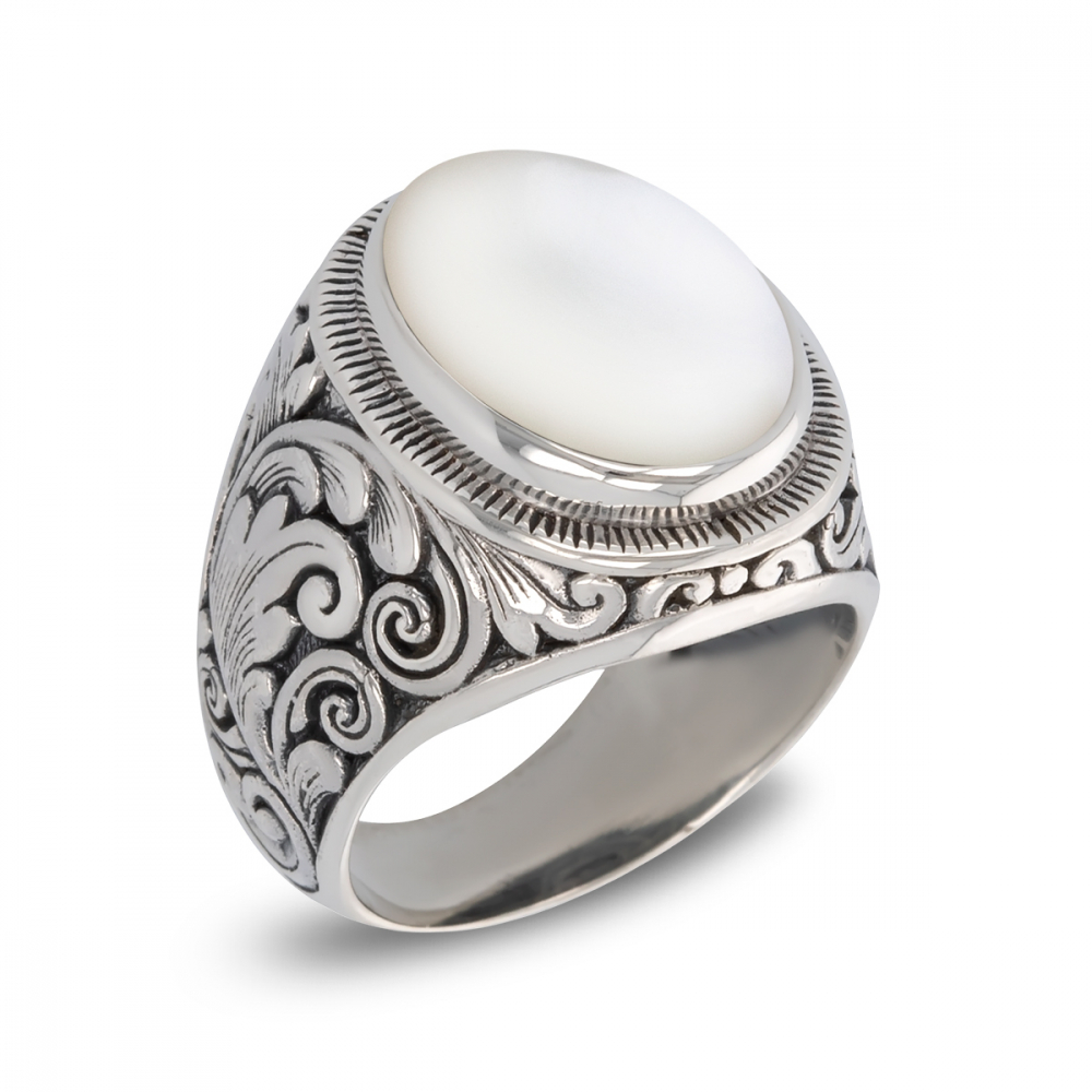 Antique effect 925 Sterling Silver White Mother-of-pearl Biker Ring