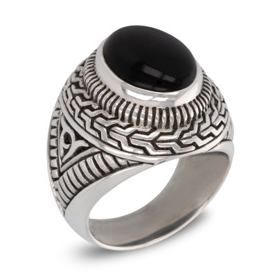 Antique effect 925 Sterling Silver Onyx Biker Ring