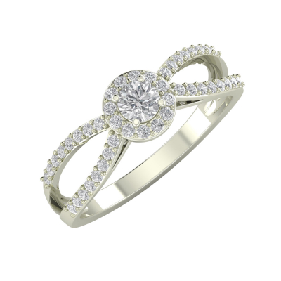Bague Or 750 Blanc Diamants 2.282grs