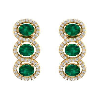 Boucles d'oreille Or 14K Jaune Emeraude forme Ovale et Diamants 4.55grs