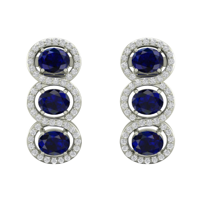 Boucles d'oreille Or 14K Blanc Saphir forme Ovale et Diamants 4.55grs