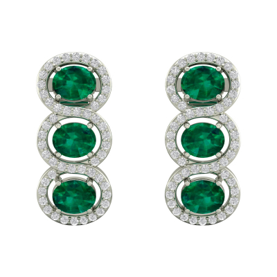 Boucles d'oreille Or 14K Blanc Emeraude forme Ovale et Diamants 4.55grs
