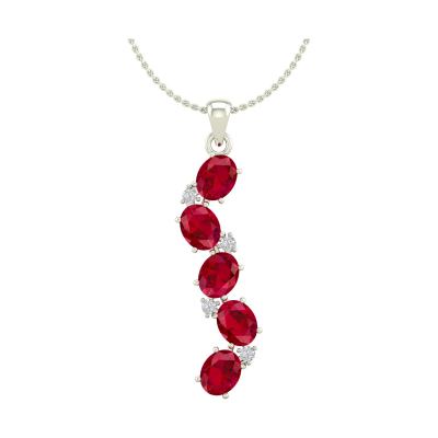 14K Gold Ruby Diamonds Necklace Pendant Gold Chain included