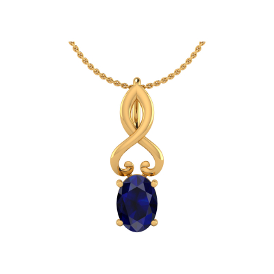 Collier Pendentif Or 14K Jaune Saphir Chaine Or incluse 0.85grs