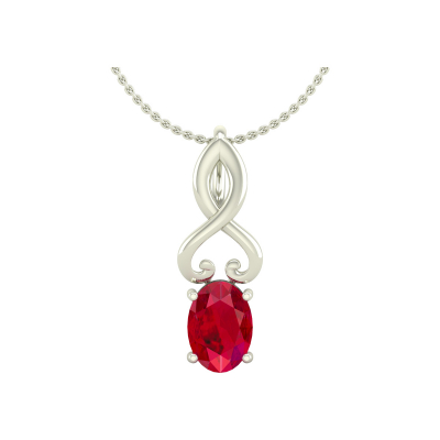 14K Gold Ruby Necklace Pendant Gold Chain included