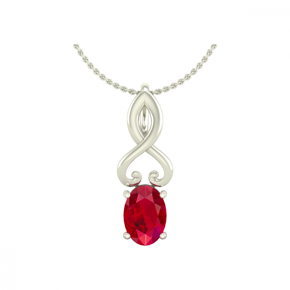Collier Pendentif Or 14K Blanc Rubis Chaine Or incluse 0.85grs