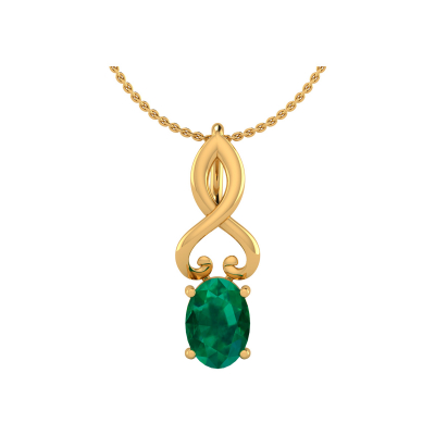 Collier Pendentif Or 14K Jaune Emeraude Chaine Or incluse 0.85grs