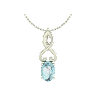 14K Gold Aquamarine Necklace Pendant Gold Chain included