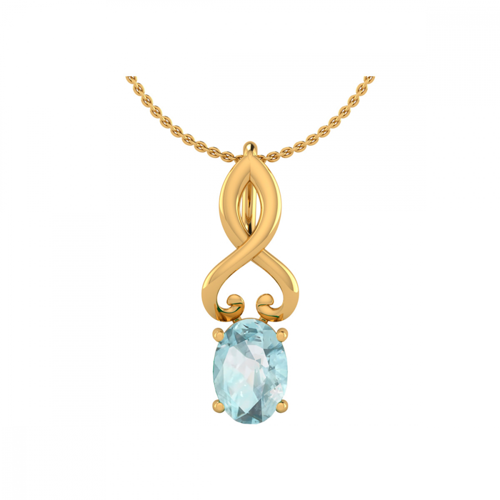 Collier Pendentif Or 14K Jaune Aigue-Marine Chaine Or incluse 0.85grs