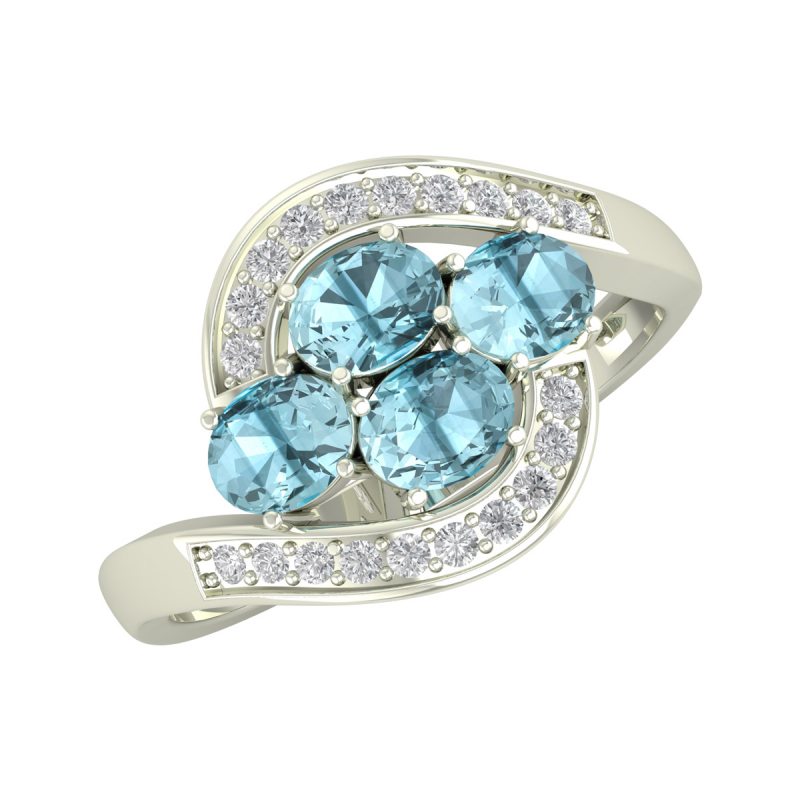 Gold Aquamarine Diamonds Ring