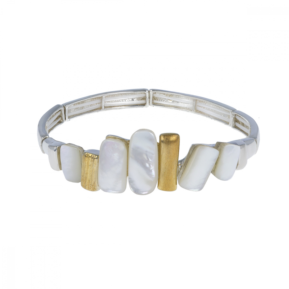 925 Sterling Silver Gold Plated White Mother-of-pearl Bracelet