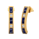 14K Gold Sapphire Diamonds Earrings