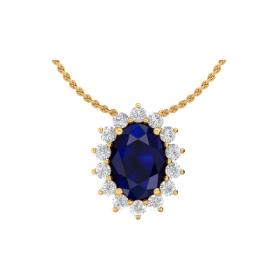 14K Gold Sapphire Diamonds Necklace Pendant Gold Chain included
