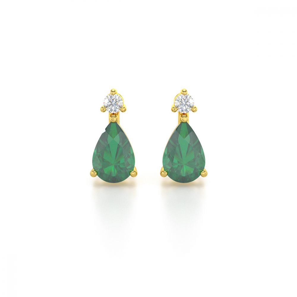 Boucles d'oreille Or 14K Jaune Emeraude forme Poire et Diamants 1.15grs