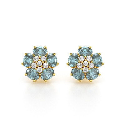 Boucles d'oreille Or Jaune Aigue-Marine Fleur et Diamants 2.86grs