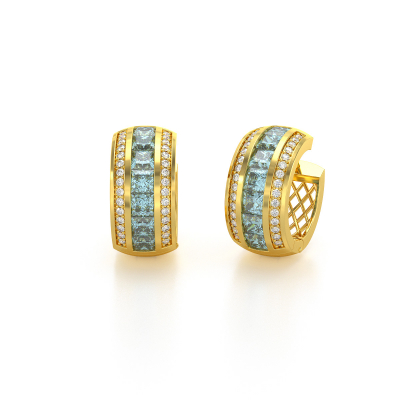 Boucles d'oreille Or Jaune Aigue-Marine et Diamants 7.35grs