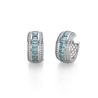 Boucles d'oreille Or Blanc Aigue-Marine et Diamants 7.35grs