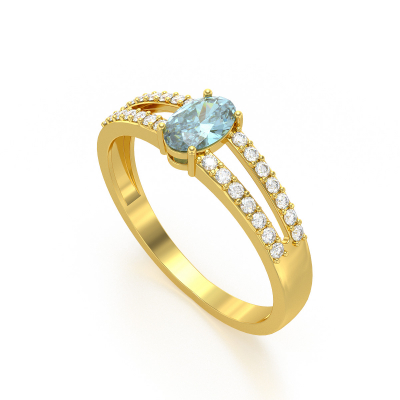 Bague Or Jaune Aigue-Marine et diamants 2.102grs