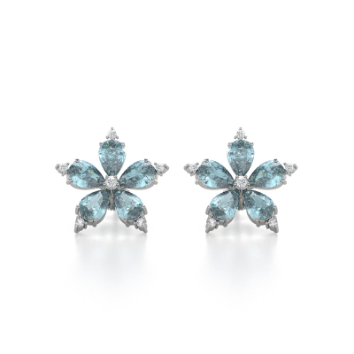 Boucles d'oreille Or Blanc Fleur Aigue-Marine et Diamants 4.52grs
