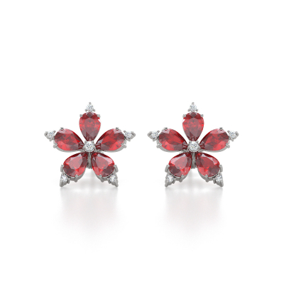 Gold Ruby Diamonds Earrings