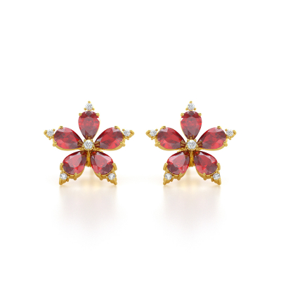 Boucles d'oreille Or Jaune Fleur Rubis et Diamants 4.52grs