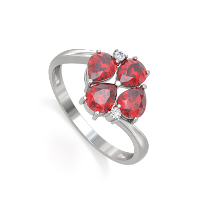 Bague Or Blanc Rubis et diamants 1.87grs