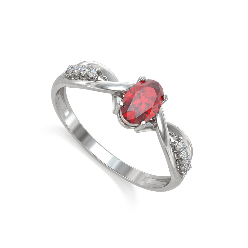 925 Sterling Silver Ruby and 4 Diamonds Ring