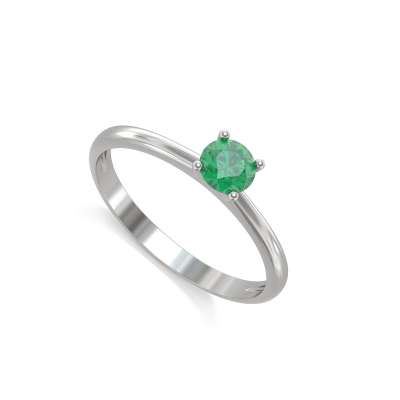 Bague Solitaire Or Blanc Emeraude 1.59grs