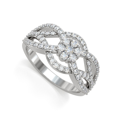 925 Silver Diamonds Ring